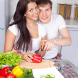 Couple cooking together — Stock Photo #4326623