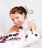 Girl taking a bath — Stock Photo