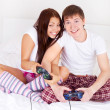 Couple play games — Stock Photo