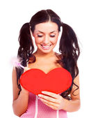 Girl with a Valentine card — Stock Photo