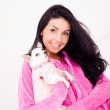 Woman with her dog — Stock Photo #4509544