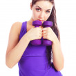 Girl with dumbbells — Stock Photo #4540631