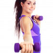 Girl with dumbbells — Stock Photo #4540637