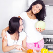 Girls cooking — Stock Photo