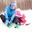 Mother and daughter skiing - Foto de Stock