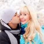 Happy kissing couple — Stock Photo