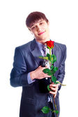 Man with a rose — Stock Photo