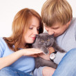 Royalty-Free Stock Photo: Couple with a cat