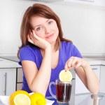Woman drinking tea — Stock Photo #4787569