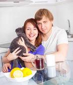 Couple drinking tea — Stock Photo
