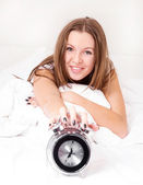 Woman wakes up — Stock Photo