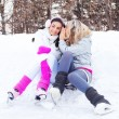 Stock Photo: Girls ice skating