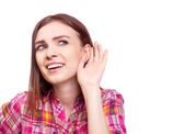 Girl listening — Stock Photo