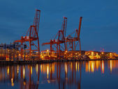 Container Terminal at night — Stock Photo