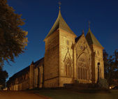 Cathedral at night in Stavanger, Norway. — Stock Photo