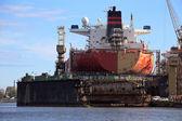 Tanker in dry dock — Stock Photo