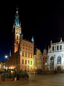 Town Hall at night in Gdansk — Stock Photo