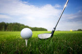 Playing golf. Club and ball on tee — 图库照片
