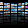 Modern TV screens panel - Stock Photo