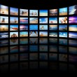 Stock Photo: Modern TV screens panel