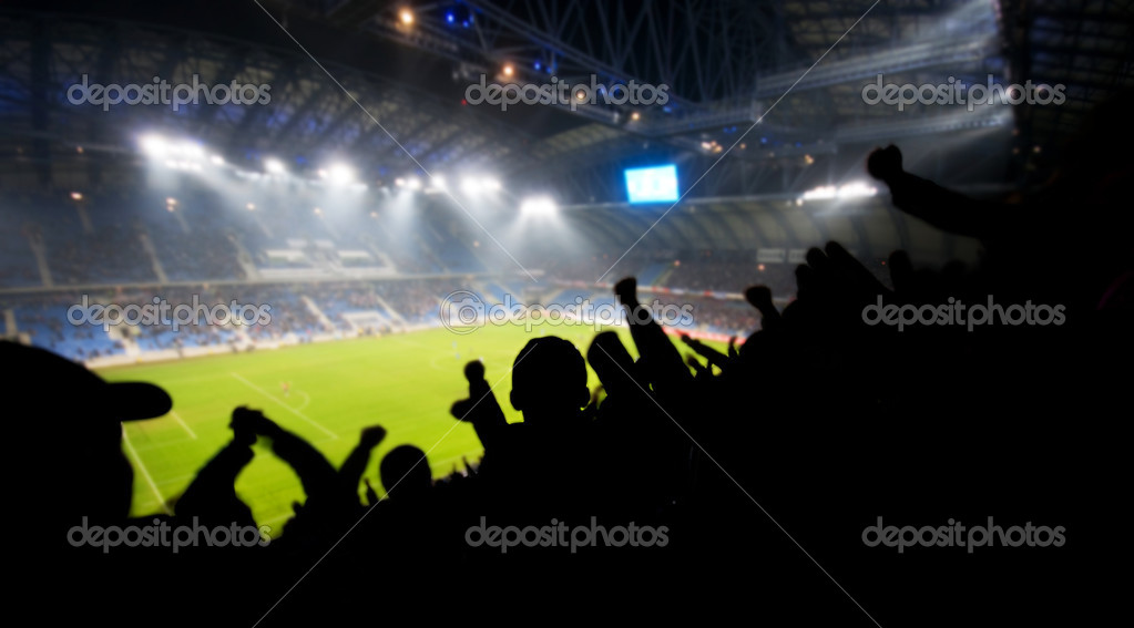 Silhouettes of fans celebrating a goal on football soccer match  Foto Stock #5201193