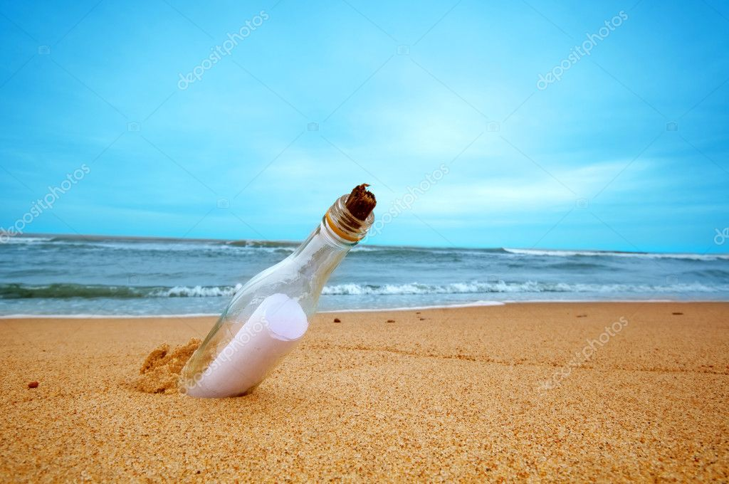 Message in the bottle from ocean. Travel, tourism, coming message concepts — Stock Photo #5201745