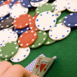 Stock Photo: Gambling chips and ace