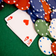 Gambling chips and cards — Stock Photo