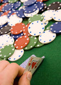 Gambling chips and ace — Stock Photo
