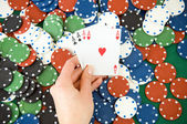 Gambling chips and cards — Foto de Stock