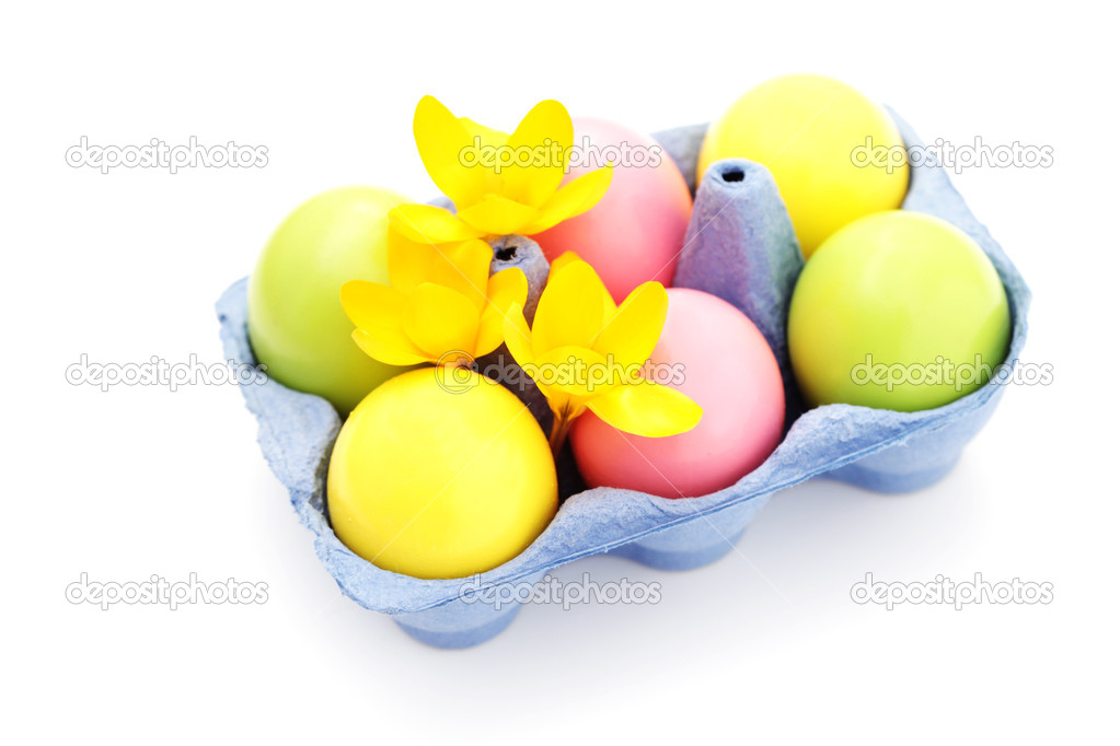 Easter eggs on white background with crocus flowers - food and drink — Stock Photo #5254043
