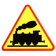 Stock Photo: Warning sign for railway crossing