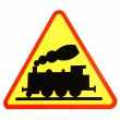 Foto Stock: Warning sign for railway crossing
