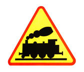 Warning sign for railway crossing — Stok fotoğraf