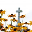 Foto Stock: Cross and flowers