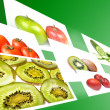 Stream with fruits and vegetables images on green background. — Stock Photo