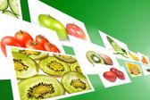 Stream med frukt och grönsaker bilder på grön bakgrund. — Stockfoto