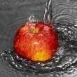 Water flow on apple — Stock Photo