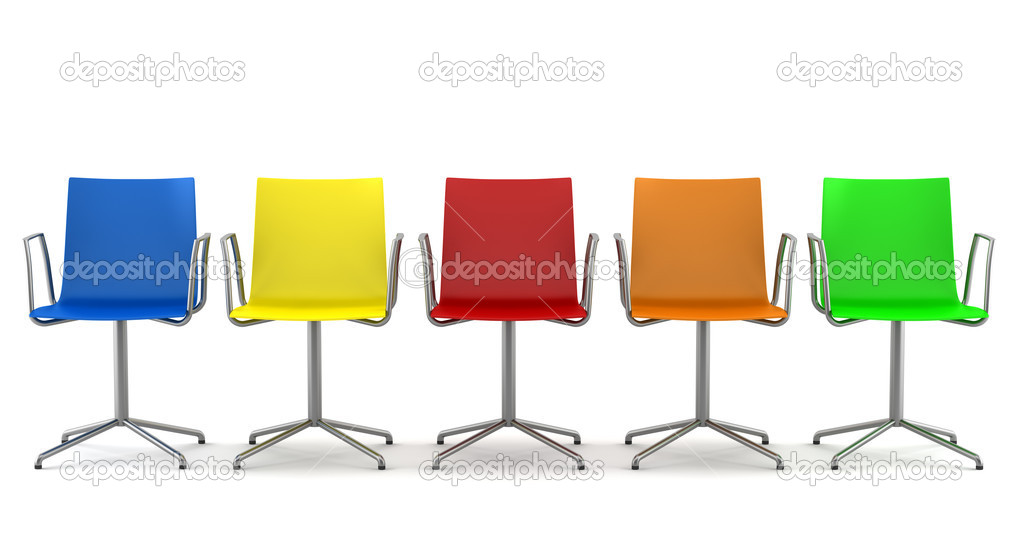 Many color office chairs isolated on white background  Stock Photo #4538203