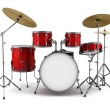 Red drum kit isolated on white background — Stock Photo #4788317