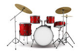 Red drum kit isolated on white background — Stock Photo