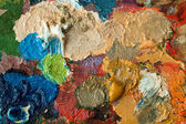Closeup of artists palette with mixed oil paint — Stock Photo