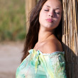 Portrait charming young woman outdoor - Stock Photo