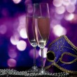 Lasses with champagne and Venetian mask - ストック写真