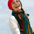 The girl in a red beret against the sky — Stok fotoğraf