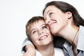 Happy mother with the son isolated — Stock Photo