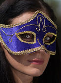 Portrait beautiful woman in carnival mask — Stock Photo