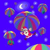 Christmas parachutes — Stock Vector