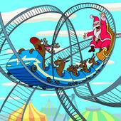 Riding Santa Claus — Stock Vector