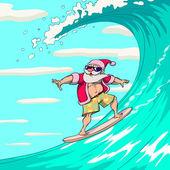 Surfing Santa Claus — Stock Vector